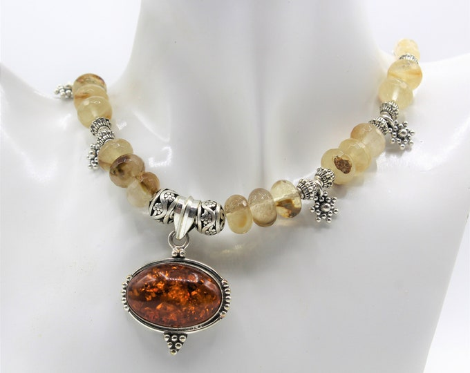 Baltic amber pendant beaded necklace, golden volcano quartz necklace, plus size choker, elegant everyday accessory, unique gift for her