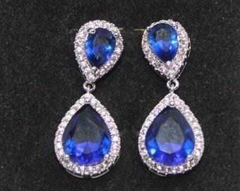 Genuine gemstone drop earrings,.925 Sterling silver earrings, natural gemstone dangle earrings:sapphire, amethyst, honey morganite