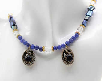 Natural blue sapphire beaded necklace, double jewel pendant necklace, real gemstone statement necklace, bridal accessory, gift for her