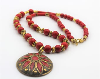 Red turquoise beaded necklace with tribal pendant, colorful statement necklace, Boho chic accessory, unique gift for women
