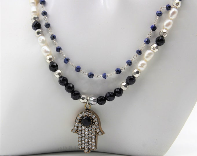 Hamsa pendant beaded necklace, blue sapphire and pearl necklace, multi strand statement necklace, gift for her, evil eye protection amulet