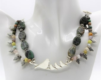 Green multi strand beaded necklace, mother's day gift, multi gem statement necklace, nature themed necklace, unique gift for her