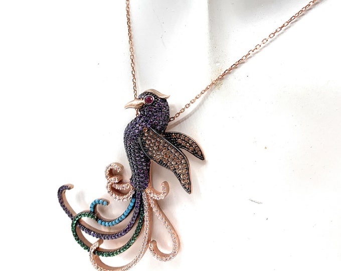 Precious multi color stones pendant necklace, delicate gemstone bird necklace, glamour wedding accessory, gift for women