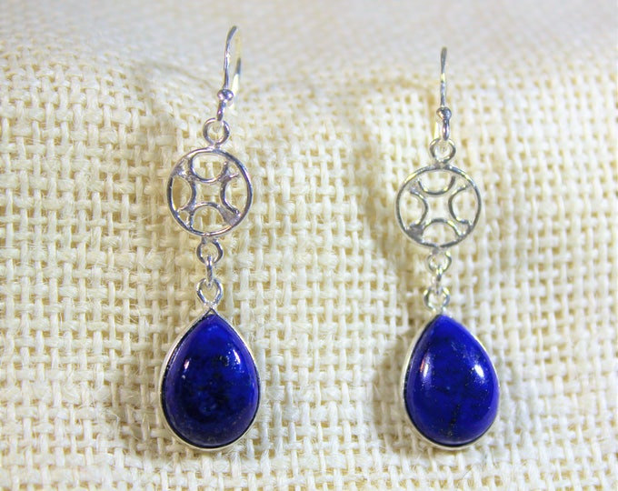 Lapis lazuli drop earrings, SPECIAL OFFER,  sterling silver dangle earrings, unique gift idea for her, everyday accessory, gift for mom