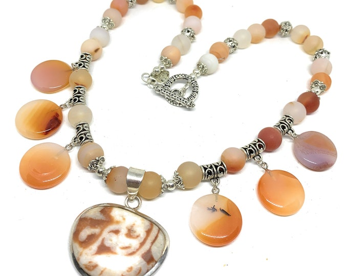 Multi pendant red agate beaded necklace, orange bib necklace, fall colors chunky accessory, elegant statement necklace, unique gift for her