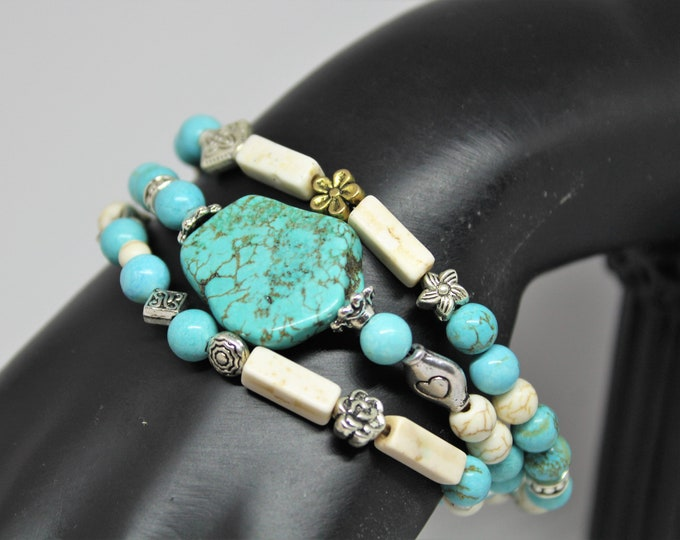 Turquoise beaded bracelet, SPECIAL OFFER, multi strand bracelet, unique gift for mom, everyday accessory, 7.5 inches bracelet