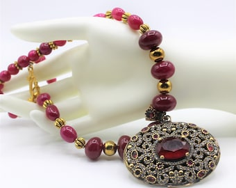 Ruby pendant necklace, natural ruby choker, elegant jewel necklace, beaded statement necklace,Hollywood glamour accessory