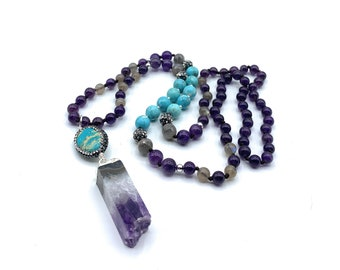 Amethyst and jasper long beaded necklace, colorful hand knotted necklace with double pendant, layering necklace, all seasons gift for her