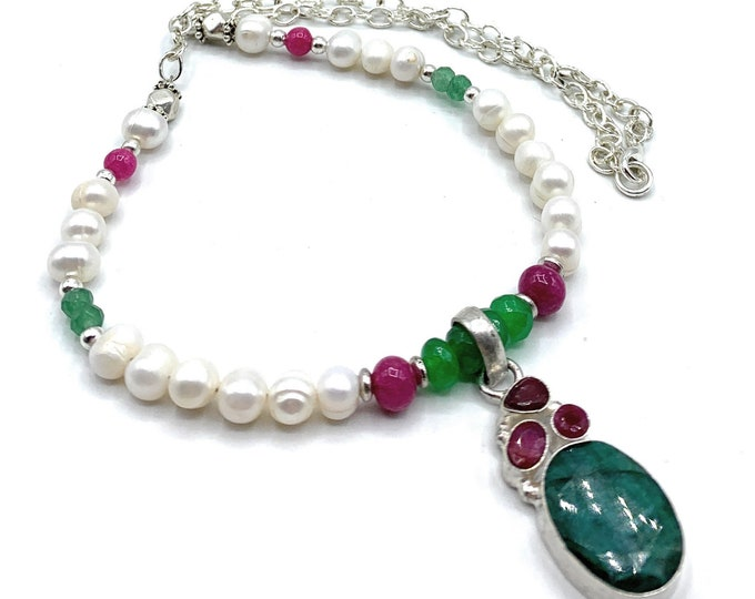 Emerald pendant beaded necklace, emerald ruby and pearl statement necklace, precious natural gemstone accessory,colorful gift for women