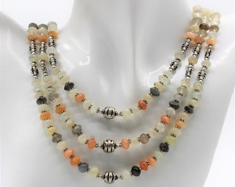 Multi color moonstone beaded necklace set, rainbow color multi strand necklace and earrings, fall colors two piece set, elegant gift for her