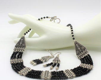 Black onyx beaded necklace set, multi strand necklace and earrings, statement necklace set, onyx and silver choker two piece set, gift idea