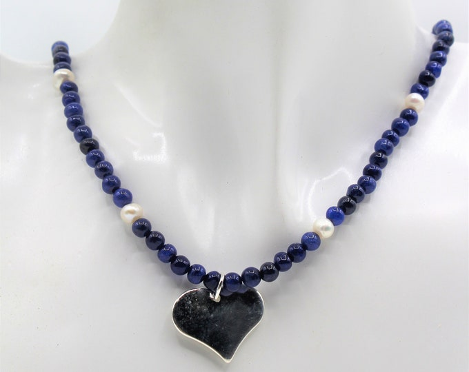 Blue sapphire beaded necklace, Sterling silver heart pendant necklace, unique gift for her, elegant minimalist necklace, gemstone accessory