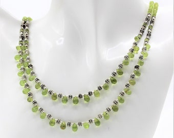 Delicate peridot beaded necklace, green multi strand necklace, silver accents necklace, dainty statement necklace, elegant gift for women