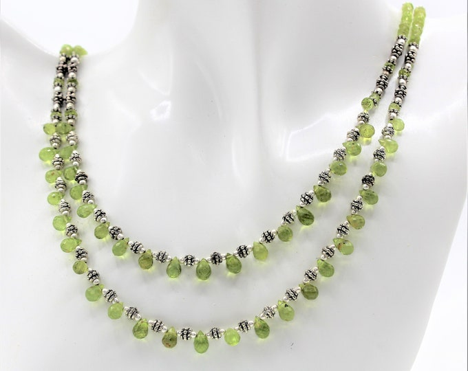 Delicate peridot beaded multi strand necklace, dainty statement necklace, elegant gift for women