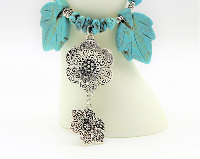 Turquoise Y necklace, SPECIAL OFFER, flowers and leaves necklace, blue and silver beaded necklace, unique gift idea for her