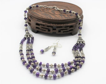 Amethyst beaded necklace set, elegant multi strand two piece set, purple statement necklace, unique bridal accessory, wedding gift for her