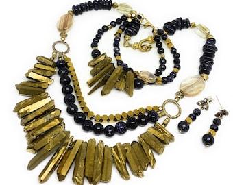 Blue and gold beaded three piece set, glamour bib necklace set, elegant statement set, necklace, earrings and bracelet set, wedding jewelry