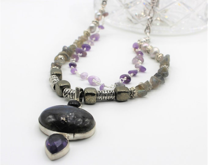 Labradorite and amethyst pendant necklace, gray and purple beaded necklace, multi strand colorful necklace, gem and silver long necklace