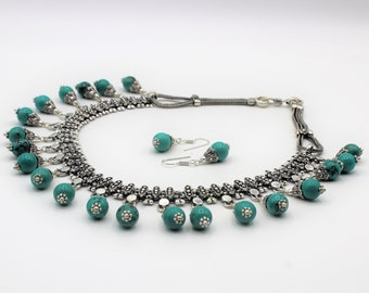 Turquoise and silver beaded bib necklace set, elegant statement necklace set, gemstone and silver necklace and earrings set, glamour set