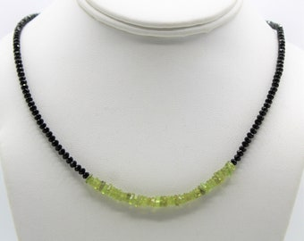 Green peridot and black spinel minimalist necklace, precious gem dainty beaded necklace, delicate plus size choker
