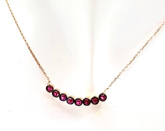 Dainty ruby bar necklace, delicate gemstone necklace, unique graduation or birthday gift, delicate accessory for her