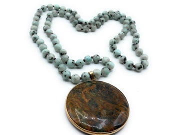 Gemstone pendant beaded long necklace, hand knotted infinity necklace, agate and jasper layering necklace