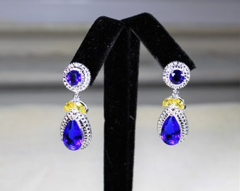 Blue topaz and citrine earrings, gemstone drop earrings, glamour dangle earrings, bridal accessory, unique gift for her