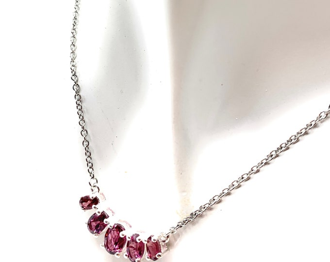 Delicate garnet bar necklace, five stones dainty necklace, layering strand, January birthstone, gift for her