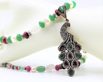Emerald and ruby peacock pendant necklace, gemstone statement necklace, Christmas colors, natural gemstone unique gift