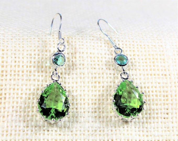 Green topaz drop earrings, silver dangle earrings, natural gemstone accessory, colorful earrings, unique gift idea for her