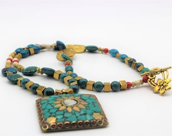 Green beaded long necklace, tribal chic necklace, statement pendant necklace, Boho chic necklace, chrysocolla and golden beads necklace