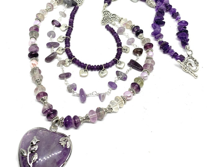 Amethyst heart beaded necklace, Valentine's Day gift, multi strand amethyst long necklace, elegant statement accessory