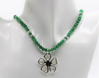 Emerald beaded necklace, Sterling silver flower pendant necklace, May birthstone, delicate gem necklace, elegant gift for her