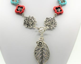 Turquoise Y necklace, SPECIAL OFFER, flower and leaf motif necklace, beaded colorful necklace, unique gift for mom, gift idea for her