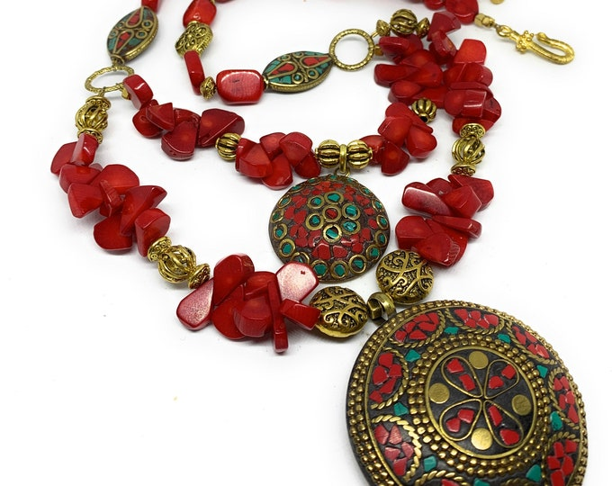 Red coral beaded necklace with double pendant, multi strand necklace, tribal motif accessory, colorful gift for women, mother of the bride