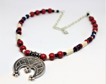 Red, white and blue beaded necklace, lunula crescent amulet in a colorful strand, elegant everyday accessory, gift for women