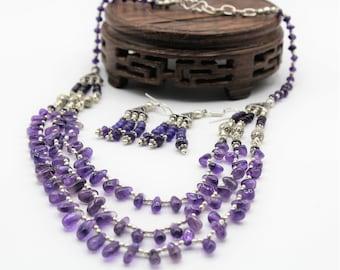 Amethyst beaded necklace and earrings set, purple statement necklace set, bridal gemstone accessory set, multi strand gemstone set