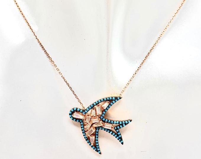 Turquoise dove pendant dainty necklace, rose gold delicate bird pendant necklace, unique wedding gift, elegant graduation gift