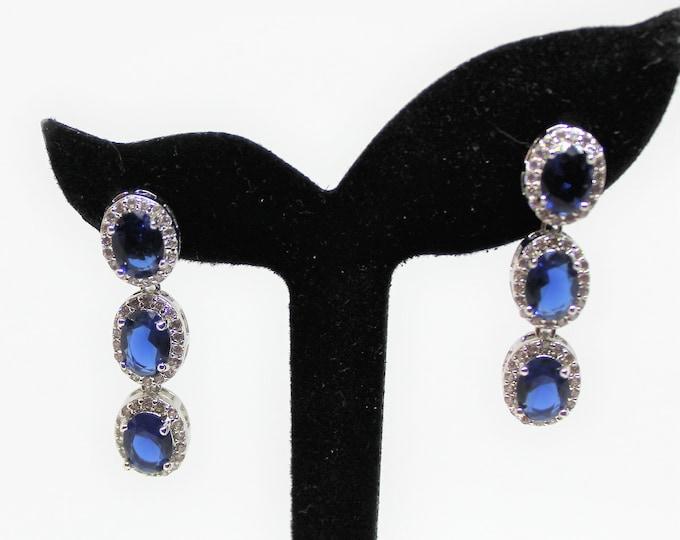 Blue sapphire dangle earrings, emerald dangle earrings, .925 Sterling silver drop earrings, glamorous earrings, natural gemstones earrings