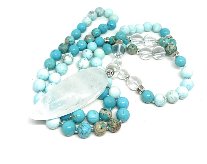 Turquoise jasper long beaded necklace, hand knotted strand with quartz pendant, elegant layering accessory, unique gift for women