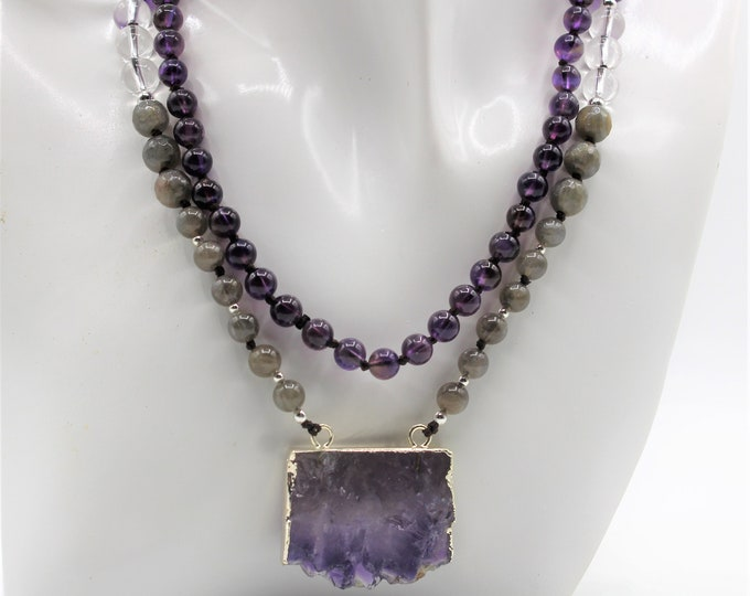Amethyst slice pendant beaded necklace, multi gem long layering necklace, multi color hand knotted infinity necklace, accessory for women