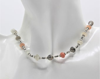 Delicate rainbow moonstone beaded necklace, dainty multi color necklace, colorful gemstone minimalist choker, unique gift for her
