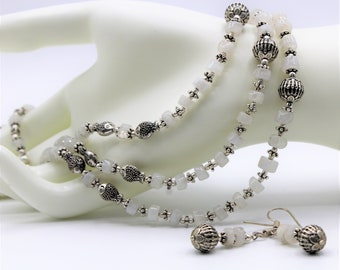 Moonstone beaded necklace set, multi strand silver gray necklace, elegant necklace and earrings set, unique gift for women, bridal accessory
