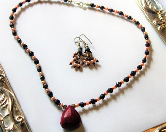 Ruby and blue sapphire necklace set, pearl accents necklace and earrings, beaded necklace, pendant necklace, Valentine's Day gift
