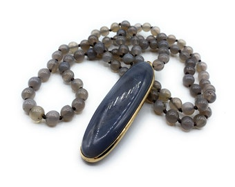 Gray agate long necklace with pendant, hand knotted agate necklace, gemstone pendant necklace