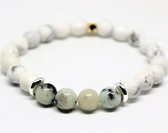 Natural gemstone beaded bracelet,white howlite and jasper stacking bracelet, gemstone layering bracelet, boho chic, unique gift idea for her