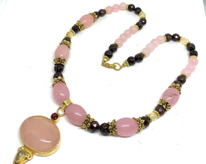 Rose quartz pendant beaded necklace, plus size pink choker, colorful statement accessory, multi gem strand and pendant, gift for her