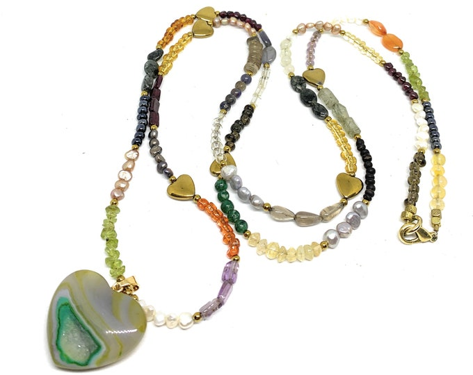 Delicate natural gemstone heart pendant beaded necklace, multi stone multi color long strand, Valentine's day gift, layering necklace