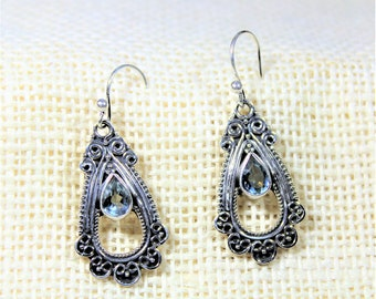 Sterling silver dangle earrings, SPECIAL OFFER, Swiss blue topaz drop earrings, birthday and graduation gift, unique accessory