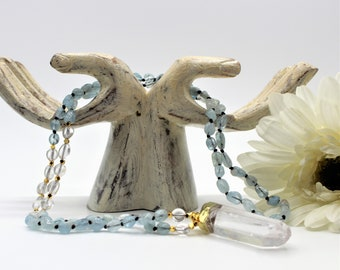 Aquamarine and quartz long beaded necklace with pendant, hand knotted gemstone necklace, layering blue necklace, gift for her